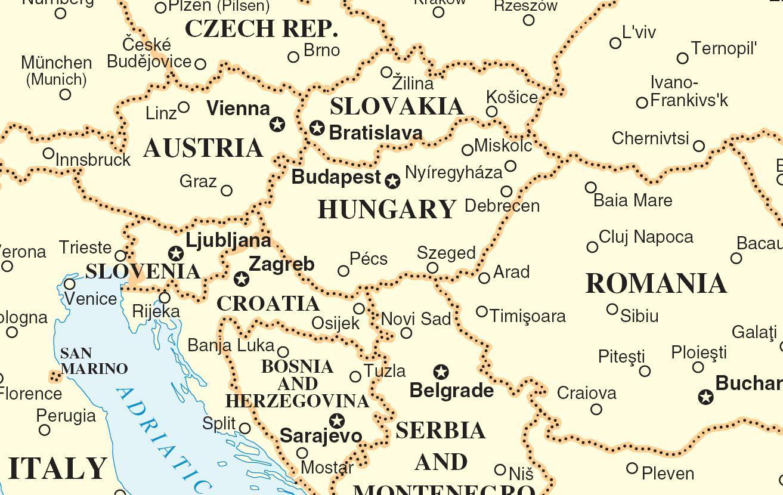 Karta Lander I Europa.Karta Over Slovakien Och Omgivande Lander Karta Slovakien